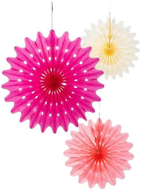 Bright Blossom Paper Fans - Pack of 3