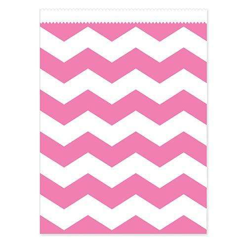 Candy Pink Chevron Paper Treat Bags