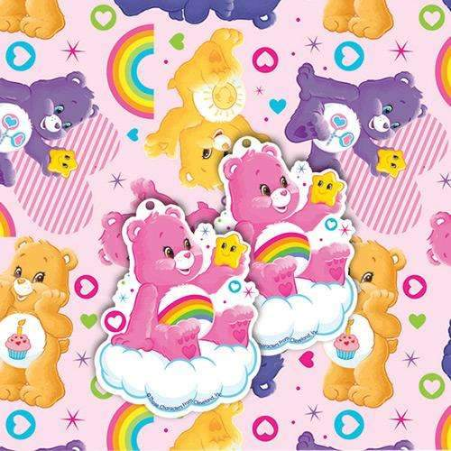 Care Bears Wrapping Paper and Gift Tag Set - Pack of 2 gift wrap & 2 tags.