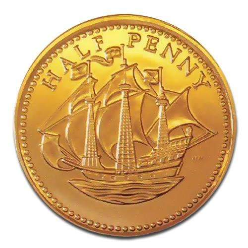 Chocolate Gold Halfpenny 28mm