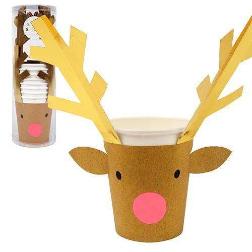 Christmas Party Cups with Reindeer Sleeves - Pack of 8