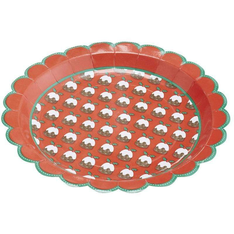 Christmas Pudding Paper Plates - Pack of 8