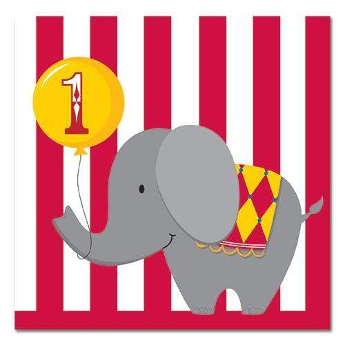 Circus Time Age 1 Napkins - Pack of 16
