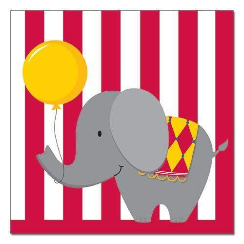 Circus Time Elephant Napkins - Pack of 16