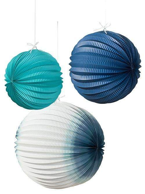 Coastal Themed Blue Ombre Paper Lanterns