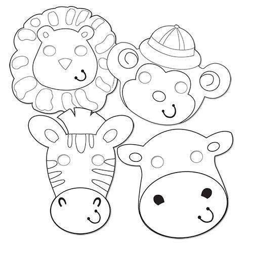 Colour Your Own Jungle Animal Paper Masks