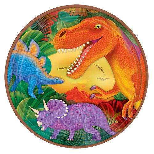 Dinosaur Party Metallic Plates 23cm - Pack of 8