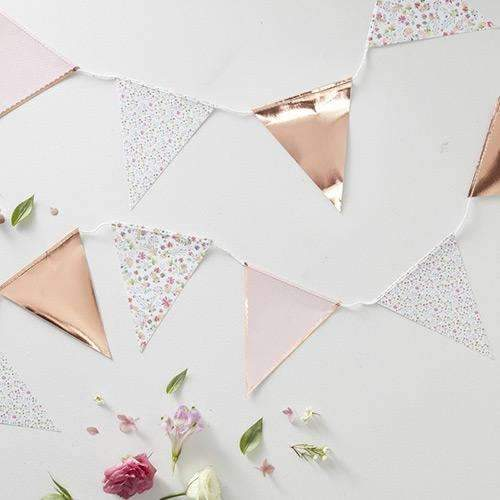 Ditsy Floral - Rose Gold and Polka Dot Bunting