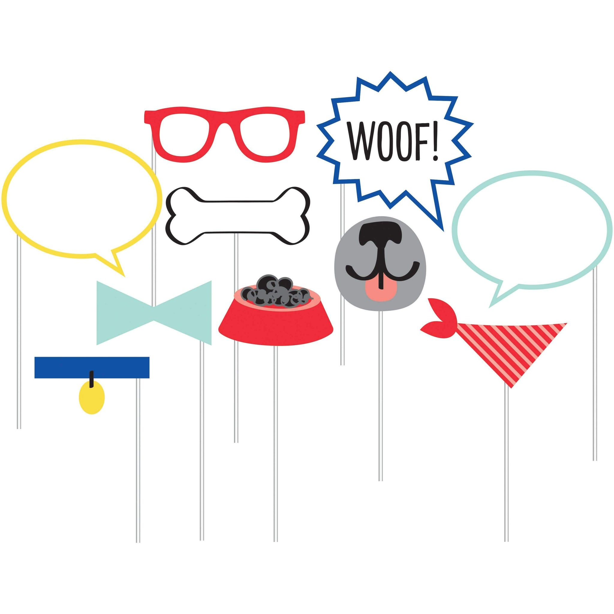 Dog Party Photo Booth Props - Pack of 10