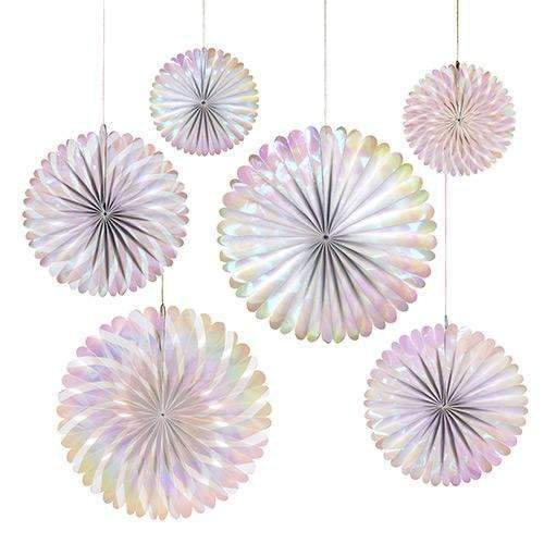 Frosted Pink Iridescent Pinwheel Decorations - Pack of 6