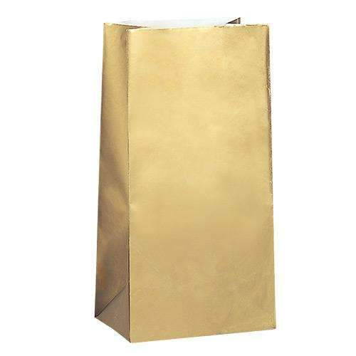 Gold Paper Party Bags - Pack of 12