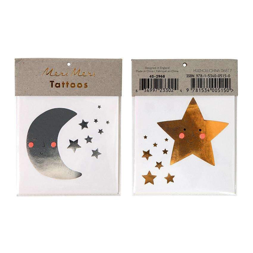 Happy Moon & Stars Temporary Tattoos