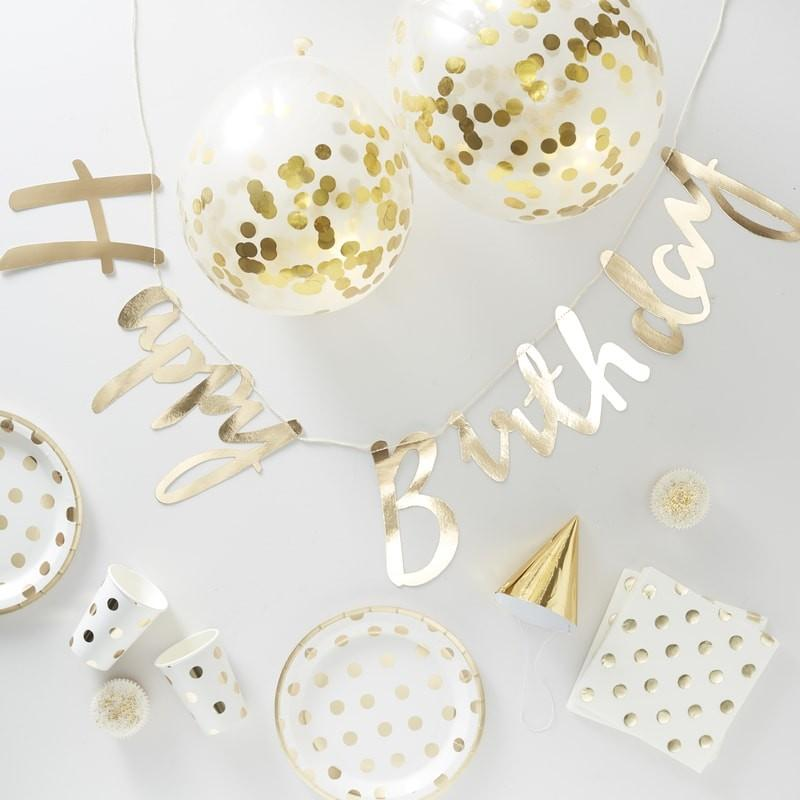 Party in a Box - Gold Foiled Polka Dot - Party for 16