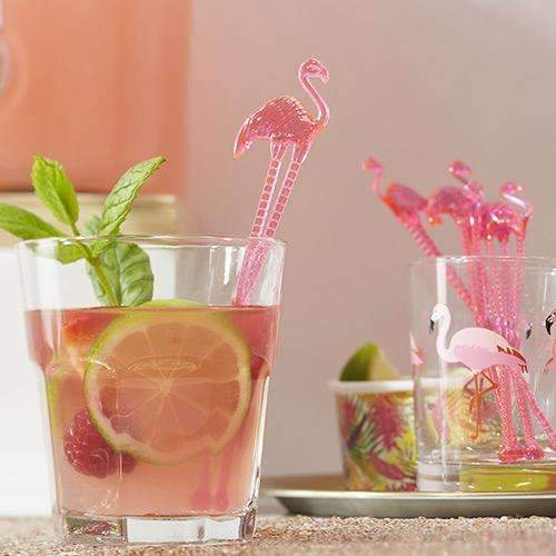Hot Pink Flamingo Drinks Stirrers - Pack of 15