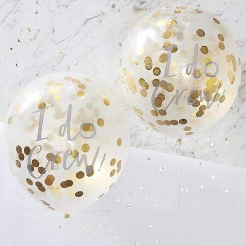 "I Do Crew - Gold Confetti Balloons - 12"" - Pack of 5"