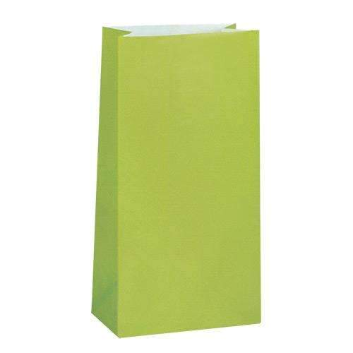 Kiwi Green Paper Party Bags - Pack of 12