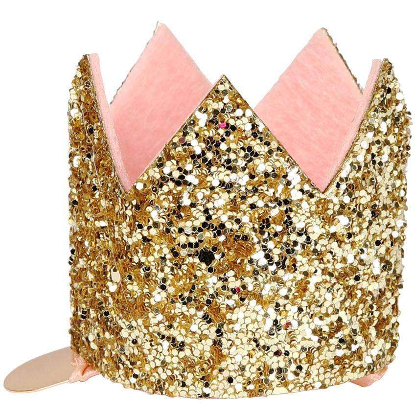 Mini Glittered Crown Hair Clip - Gold