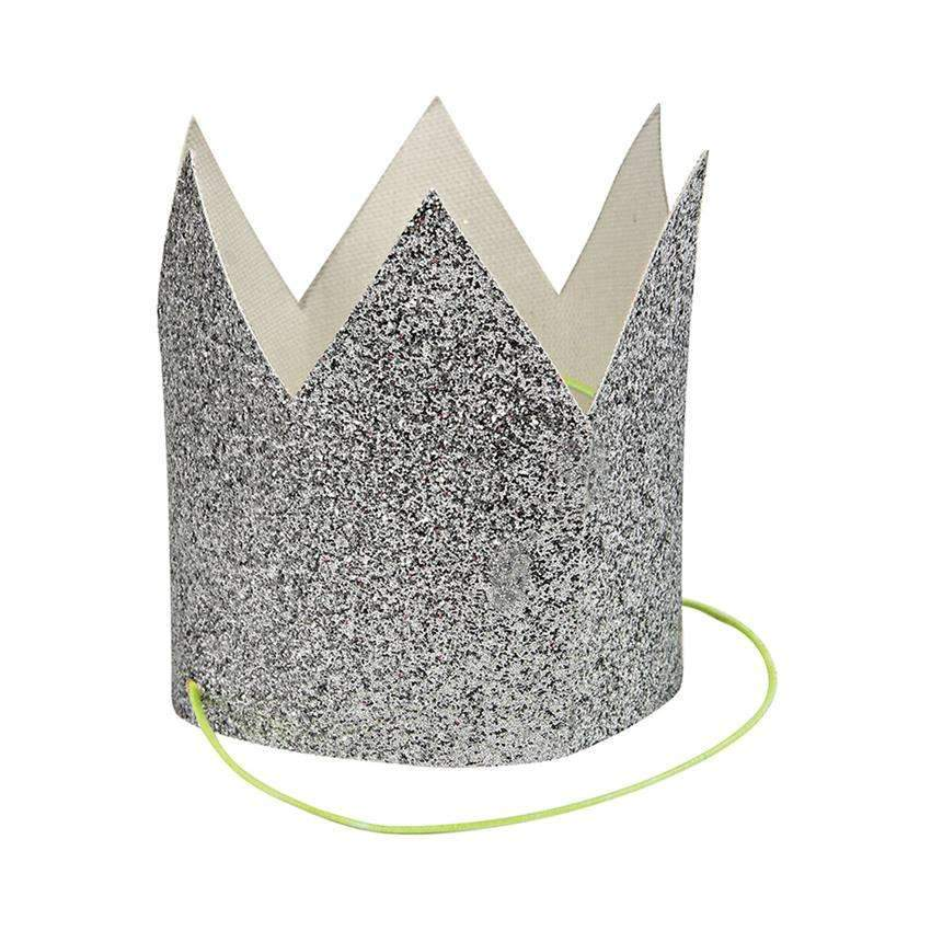 Mini Glittered Crowns - Silver - Pack of 8