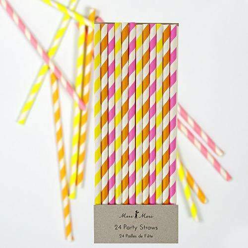 Neon Colours Paper Straws - Pack of 24