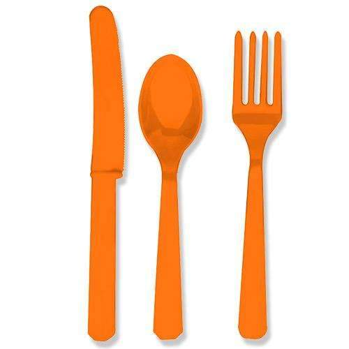 Orange Cutlery - Eight Sets of Spoons, Knives and Forks