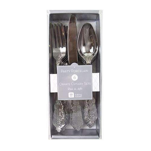 Ornate Silver Plastic Cutlery Set