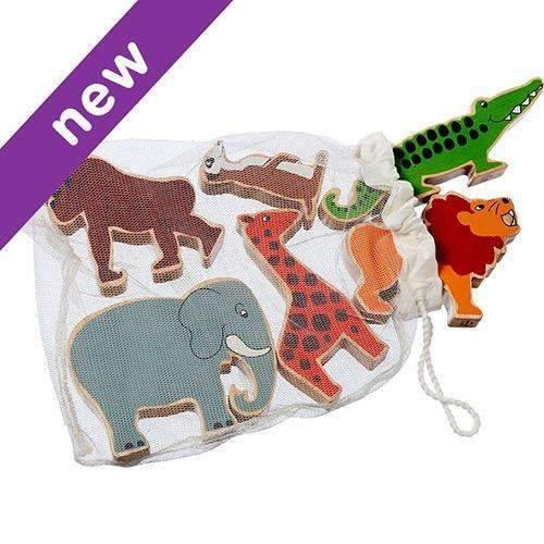 Painted Wooden Safari Animals in a Bag
