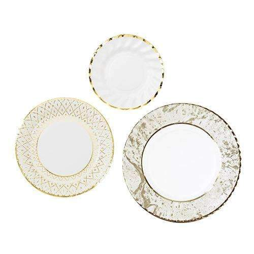 Party Porcelain Gold Plate Trio Pack - Pack of 18