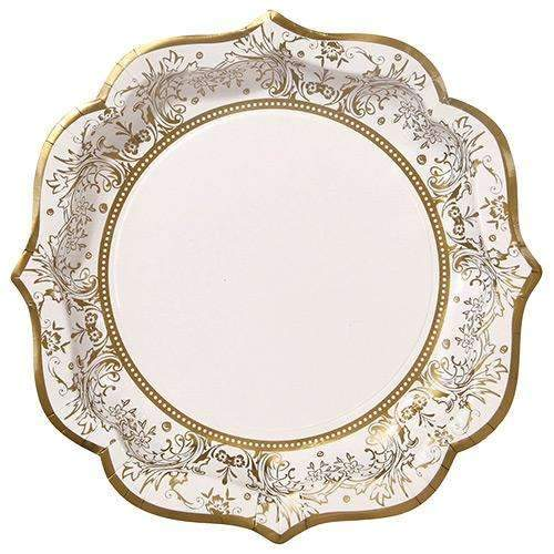 Party Porcelain Gold Paper Plates - Pack of 12