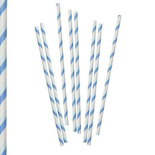Pastel Blue and White Stripy Paper Straws - Pack of 30