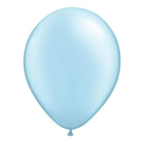 "Pearl Light Blue 11"" Qualatex Latex Balloons - Pack of 6"