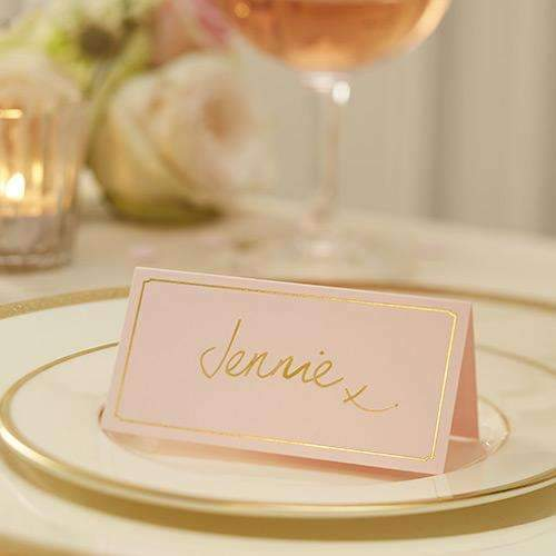 Pink and Gold Foil Place Cards - Pack of 10