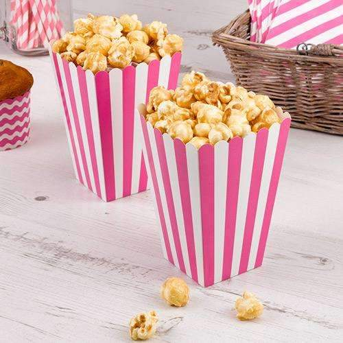 Pink and White Stripy Popcorn Boxes- Pack of 8