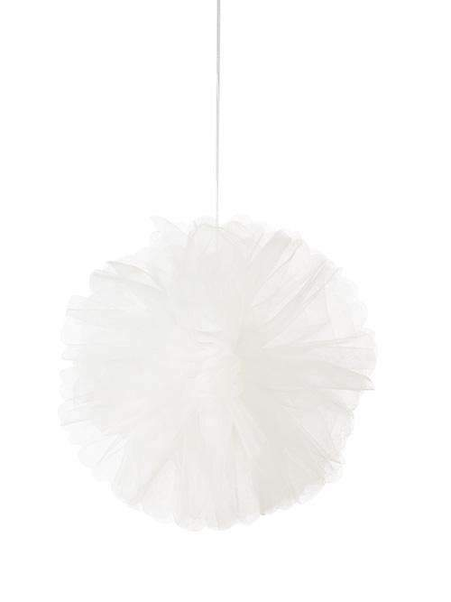 Pink and White Tulle Pom Poms - Pack of 3
