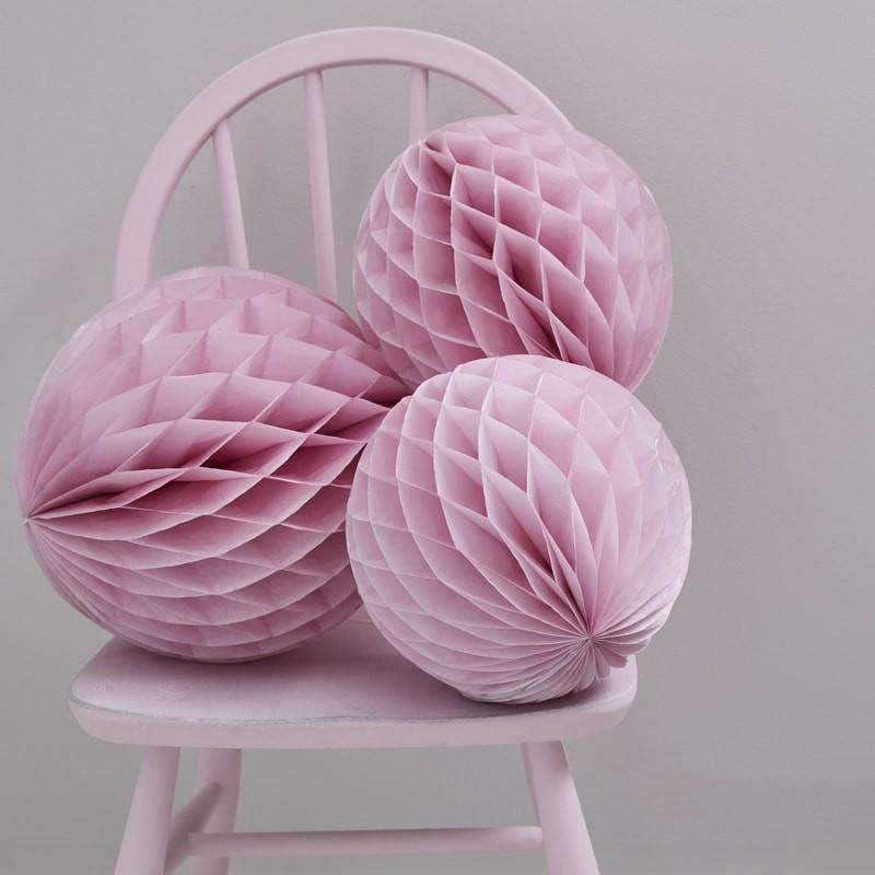 Pink Honeycomb Ball Decorations - Pack of 3