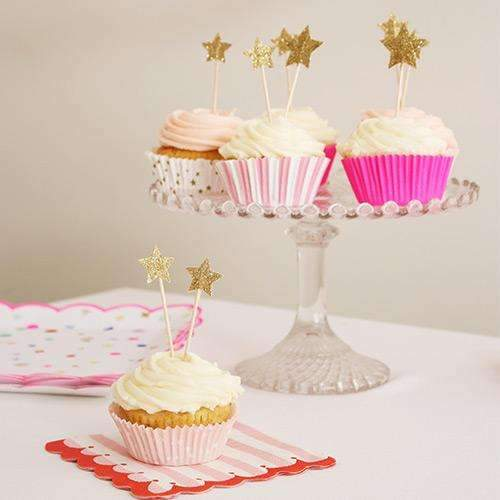 Pink Starry Cupcake Set - Pack of 48 cases & 24 toppers.