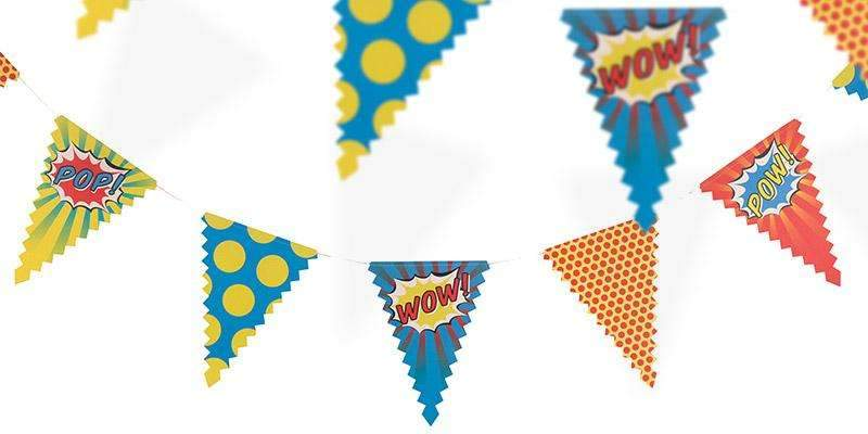 Pop Art Superhero Party Paper Bunting