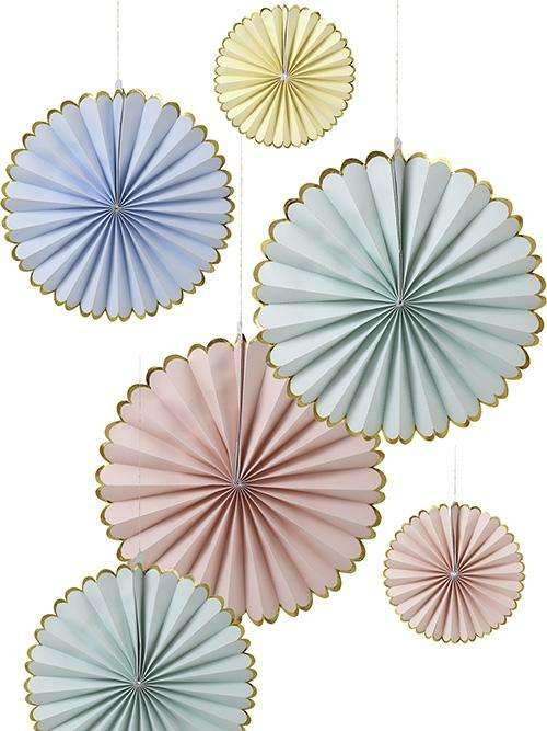 Pretty Pastels Pinwheel Decorations - Pack of 6