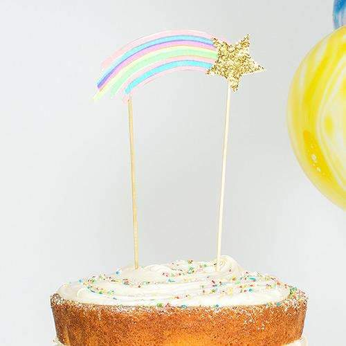Shooting Star and Rainbow Cake Topper