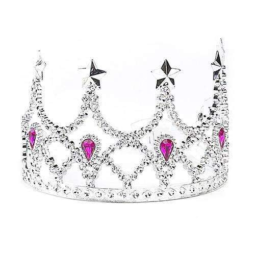 Silver Crown with Pink Jewels