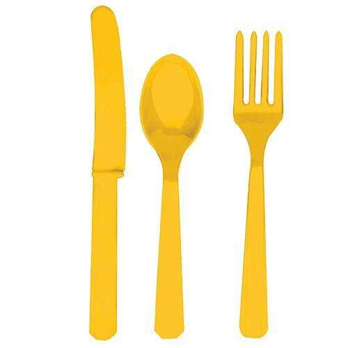Sunshine Yellow Cutlery - Eight sets of Knives, Forks and Spoons