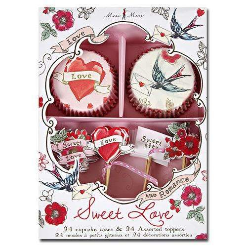 Sweet Love Valentine Cupcake Kit - Pack of 24 cases & toppers