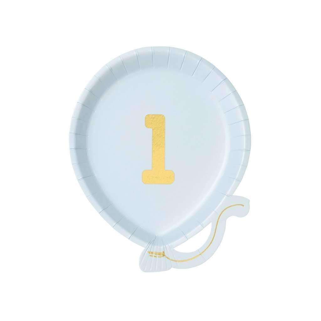We Heart Birthdays - 1st Birthday Balloon Plates - Blue and Gold