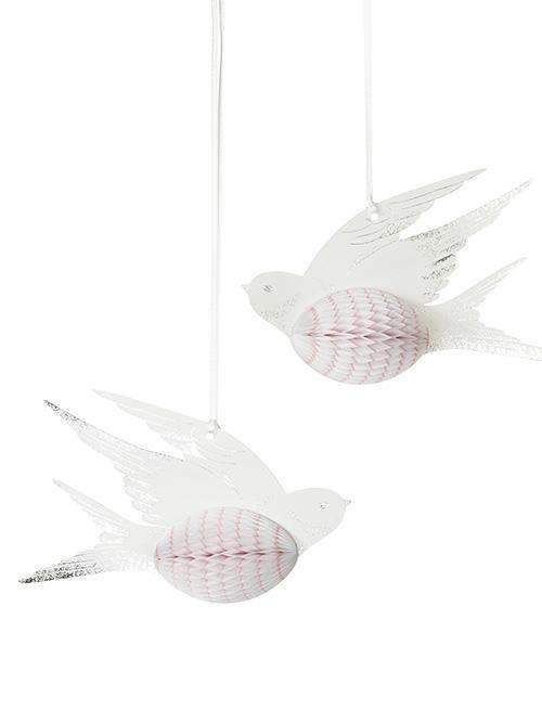 White and Pink Honeycomb Birds - Pack of 3