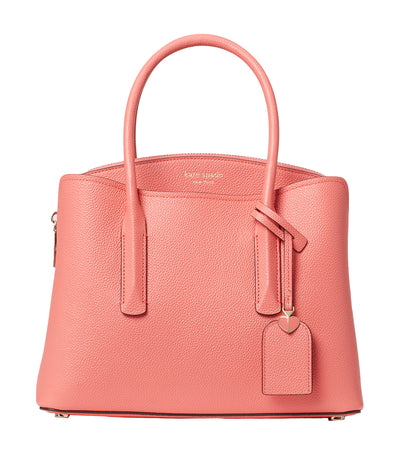 Margaux Medium Leather Satchel Lychee