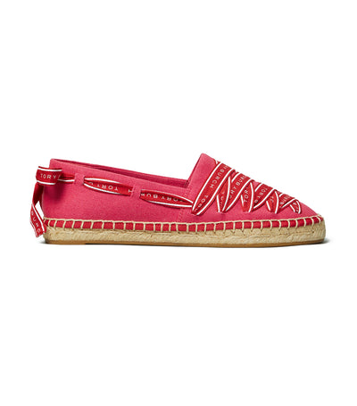 Tory Burch Logo Grosgrain Espadrille - Bright Azalea/Brilliant Red