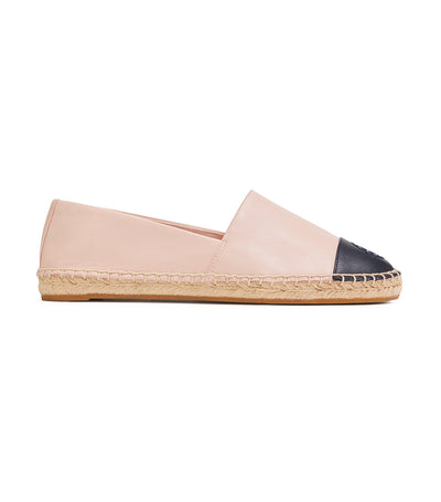Tory Burch Color-Block Leather Espadrille - Seashell Pink/Perfect Navy