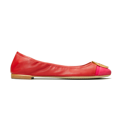Tory Burch Minnie Cap-Toe Ballet Flat - Brilliant Red/Bright Azalea