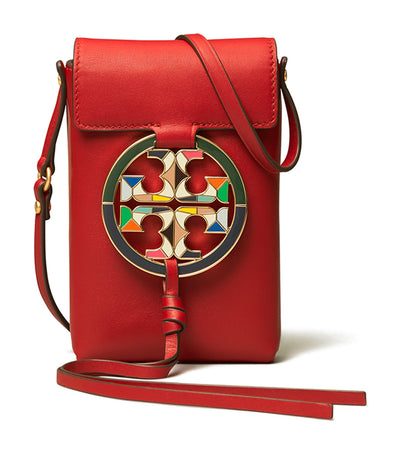 Miller Enamel-Logo Phone Crossbody Red Apple