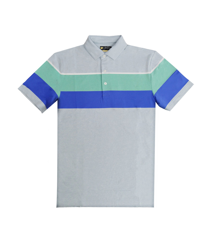 Textured Color Block Polo Shirt Blue Fog