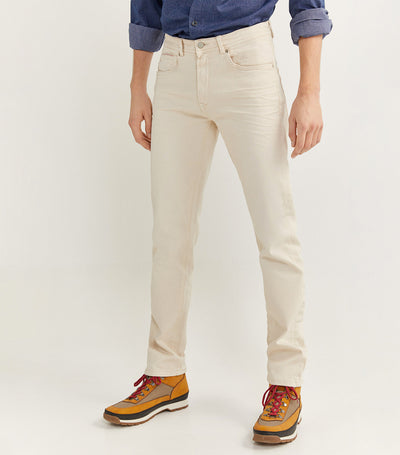Slim Fit Washed Five-Pocket Trousers Beige